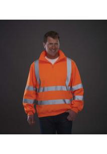 Sweat-shirt 1/4 zip haute visibilité