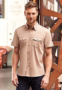 CHEMISE HOMME MANCHES COURTES TWILL ROLL-UP