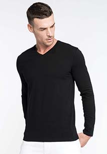 T-SHIRT COL V MANCHES LONGUES HOMME