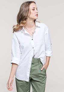 Chemise lin et coton manches longues femme