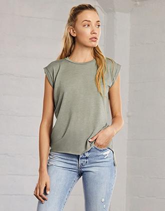 T-shirt Flowy à manches roulottées