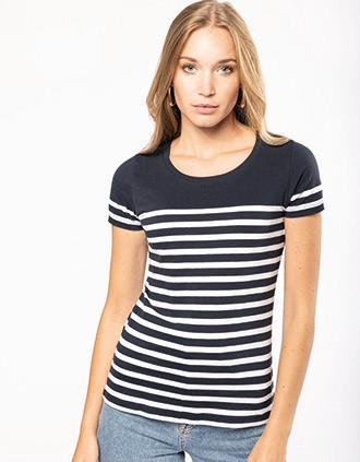 T-shirt marin col rond Bio femme