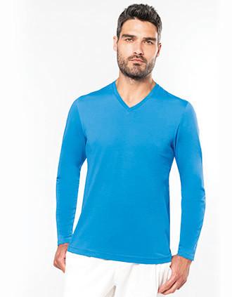 T-shirt col V manches longues