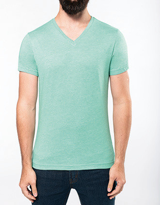 "T-shirt col V manches courtes ""mélange"" homme"