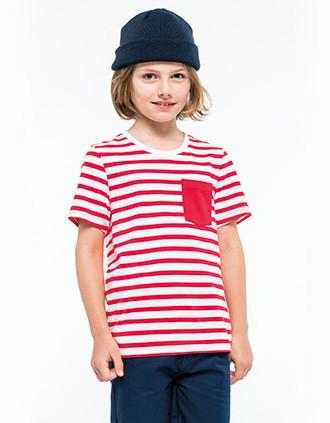 T-shirt rayé marin avec poche manches courtes enfant