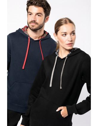 Sweat-shirt à capuche contrastée à motifs unisexe