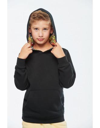 Sweat-shirt à capuche contrastée à motifs enfant unisexe