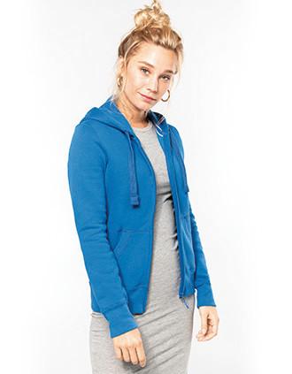 Sweat-shirt zippé capuche femme