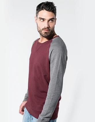 Sweat-shirt Bio bicolore col rond manches raglan homme