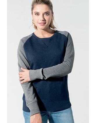 Sweat-shirt Bio bicolore col rond manches raglan femme