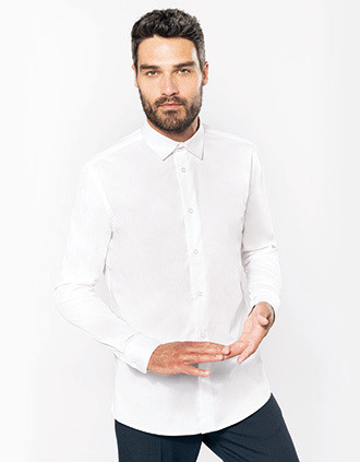 Chemise popeline manches longues homme