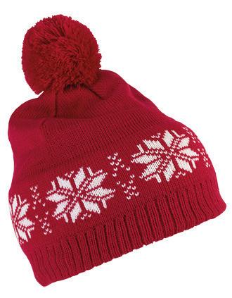 Bonnet de Noël tricoté motif étoiles