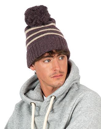 Bonnet à rayure tricoté en fil recyclé