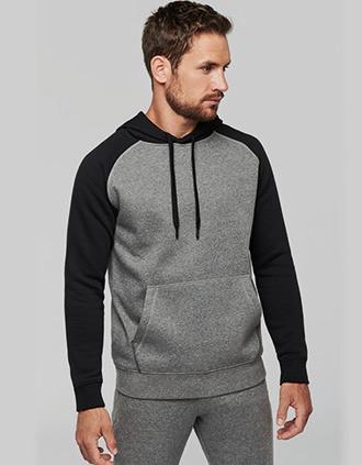 Sweat-shirt à capuche bicolore