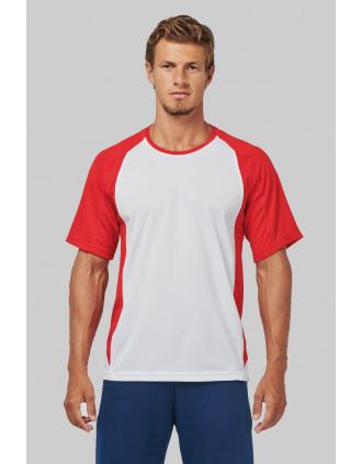 T-shirt de sport bicolore manches courtes unisexe